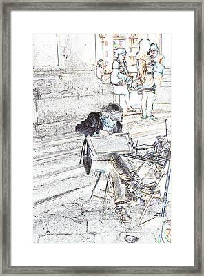 Street Artist Florence Italy Framed Print by Allan Rothman