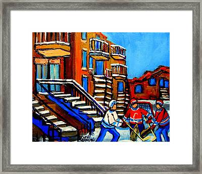 Street Hockey Near Staircases Montreal Winter Scene Framed Print by Carole Spandau