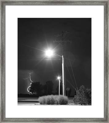 Street Light  Lightning In Black And White Framed Print by James BO  Insogna