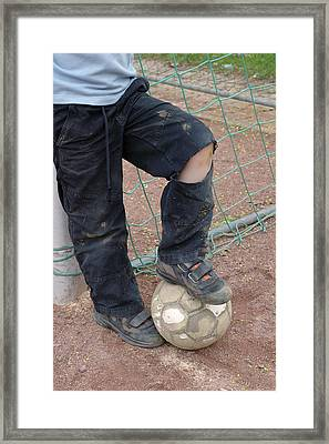 Street Soccer - Torn Trousers And Ball Framed Print by Matthias Hauser