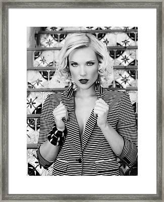 Strength In Stripes Bw Palm Springs Framed Print by William Dey