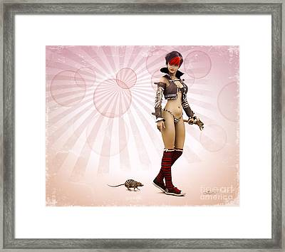Striped Girl With Striped Pet Framed Print by Jutta Maria Pusl