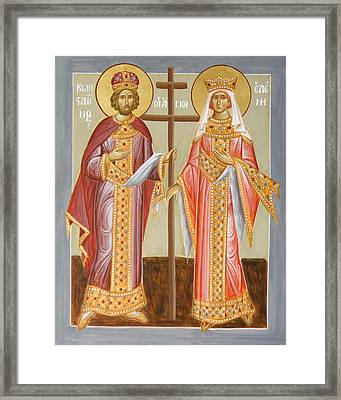 Sts Constantine And Helen Framed Print by Julia Bridget Hayes