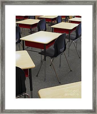 Student Desks In Classroom Framed Print by Skip Nall