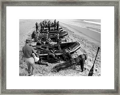 Students Wait By Their Inflatable Framed Print by Michael Wood