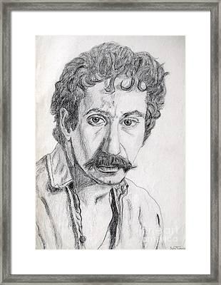 Study Of Jim Croce Framed Print by Julie Coughlin