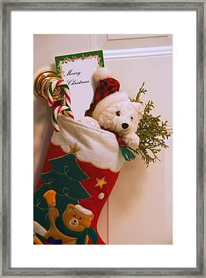 Stuffed Christmas Stocking Framed Print by Carson Ganci