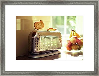 Stylish Chrome Toaster Popping Up Toast Framed Print by Kelly Sillaste