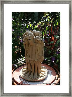 Suffering Circle Ceramic Sculpture Brown Clay  Framed Print by Rachel Hershkovitz