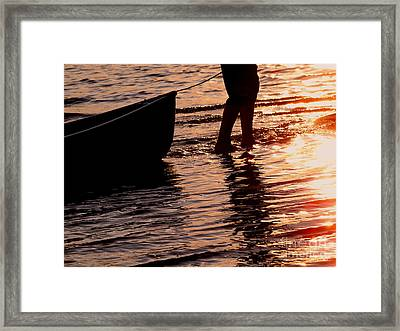 Summer Days - Canoeing At Sunset Framed Print by Angie Rea