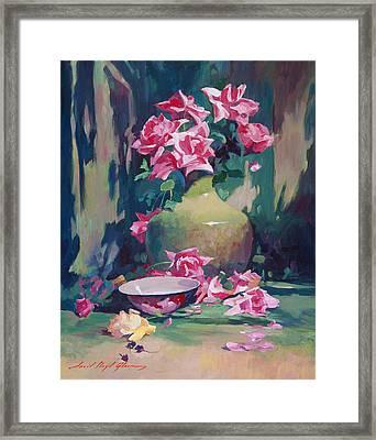 Summer Rose Arrangement Framed Print by David Lloyd Glover