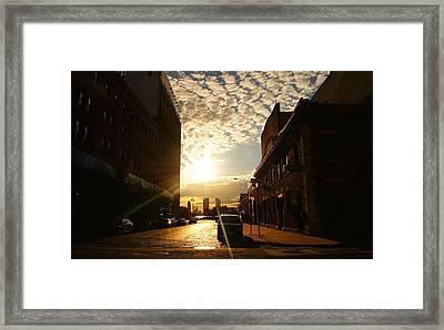 Summer Sunset Over A Cobblestone Street - New York City Framed Print by Vivienne Gucwa