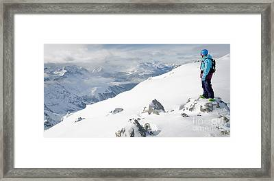 Summit Snowboarder Planning The Descent From Weissfluhgipfel Davos  Framed Print by Andy Smy