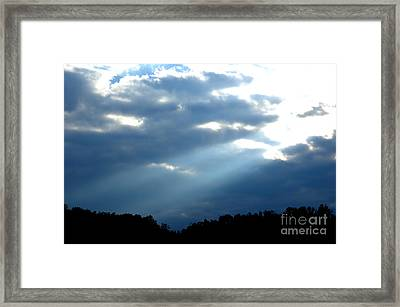 Sun Breaks Through Stormy Sky Framed Print by Thomas R Fletcher