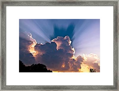 Sun Rays And Clouds Framed Print by Amber Flowers