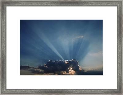 Sun Rays And Cumulus Cloud Framed Print by Pekka Parviainen