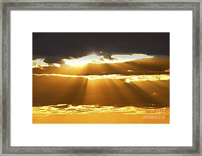 Sun Rays At Sunset Sky Framed Print by Elena Elisseeva