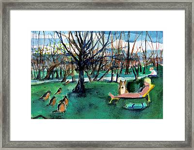 Sunbathing With Friends Framed Print by Mindy Newman