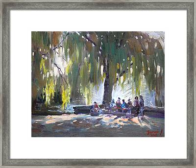 Sunday Afternoon By The Fontain Framed Print by Ylli Haruni