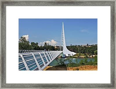 Sundial Bridge - Sit And Watch How Time Passes By Framed Print by Christine Till