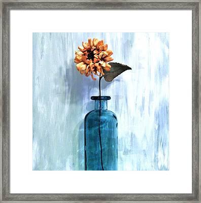 Sunflower In A Beach Bottle Framed Print by Marsha Heiken