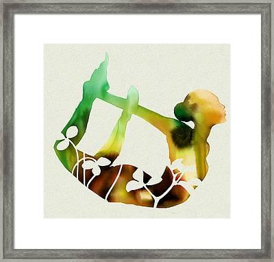 Sunflower Yoga Framed Print by Dana Vogel