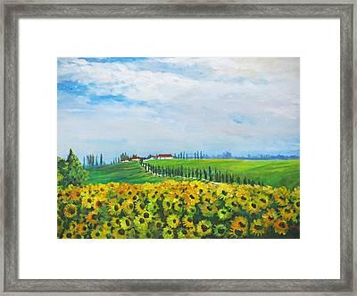 Sunflowers In Chianti Framed Print by Heidi Patricio-Nadon