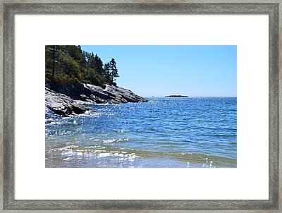 Sunlight Reflections Along Sand Beach Acadia Park Maine Framed Print by Martin Rogers