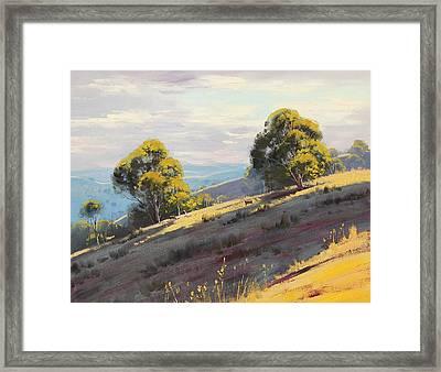 Sunlit Hills Hartley Framed Print by Graham Gercken