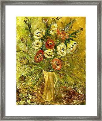 Sunny Flowers In Yellow Vase Framed Print by Rachel Hershkovitz