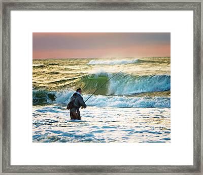 Sunrise Fisherman Framed Print by Vicki Jauron