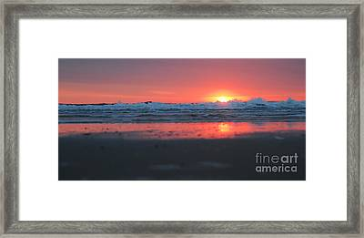 Sunrise From The Sand Framed Print by Linda Mesibov