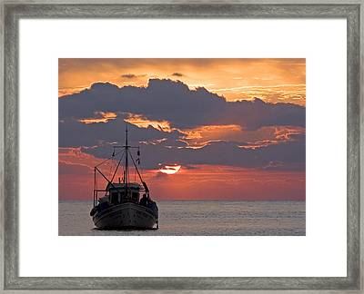 Sunrise In Crete Framed Print by Max Waugh