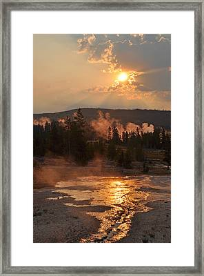 Sunrise Near Yellowstone's Punch Bowl Spring Framed Print by Bruce Gourley