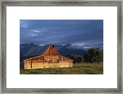 Sunrise On Old Wooden Barn On Farm Framed Print by Axiom Photographic