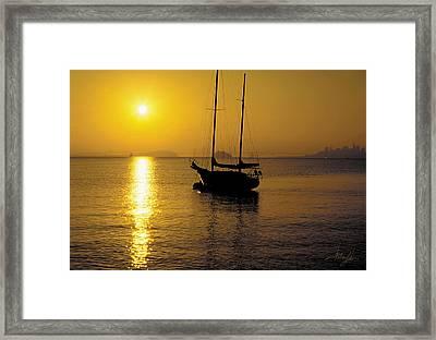 Sunrise Sailing Framed Print by Richard Leon
