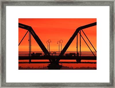 Sunrise Walnut Street Bridge Framed Print by Tom and Pat Cory