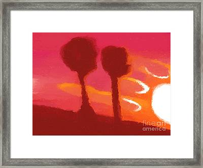 Sunset Abstract Trees Framed Print by Pixel Chimp