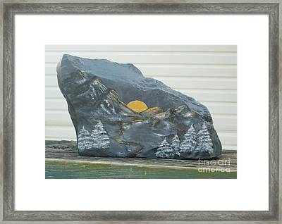 Sunset And Mountains Framed Print by Monika Shepherdson