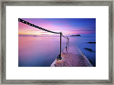 Sunset At Sea Framed Print by Stewart Hardy