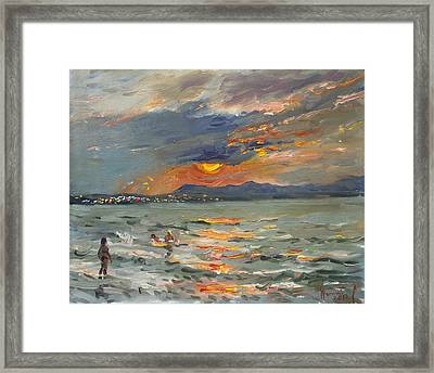 Sunset In Aegean Sea Framed Print by Ylli Haruni