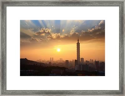 Sunset In Metropolitan Framed Print by Jhhuang