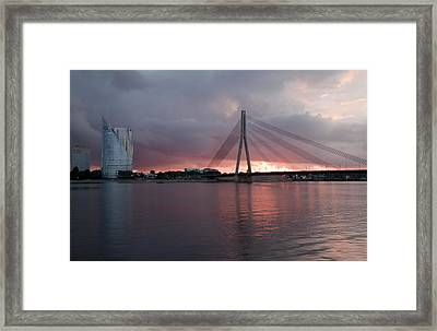 Sunset In Riga Framed Print by Claudia Fernandes