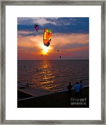 Sunset Kiteboarding On The Pamlico Sound Framed Print by Anne Kitzman