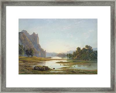 Sunset Over A River Landscape Framed Print by Francis Danby