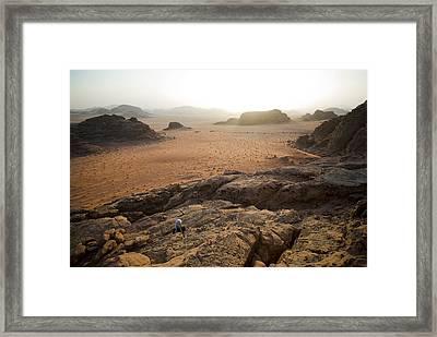 Sunset Over Jordan Wadi Rum Rock Framed Print by Jason Jones Travel Photography