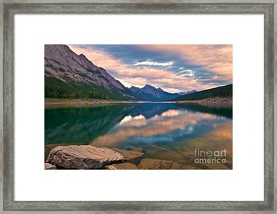 Sunset Over Medicine Lake Framed Print by James Steinberg and Photo Researchers