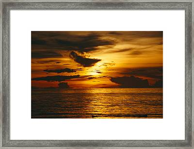 Sunset Over Pacific Ocean, Yap Islands Framed Print by Joe Stancampiano
