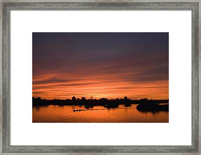 Sunset Over River Framed Print by Axiom Photographic