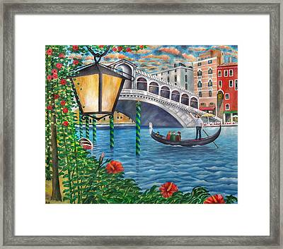 Sunset Over The Grand Canal Framed Print by Ronald Haber